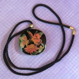 Jewelry - Vintage black cloisonné butterfly necklace